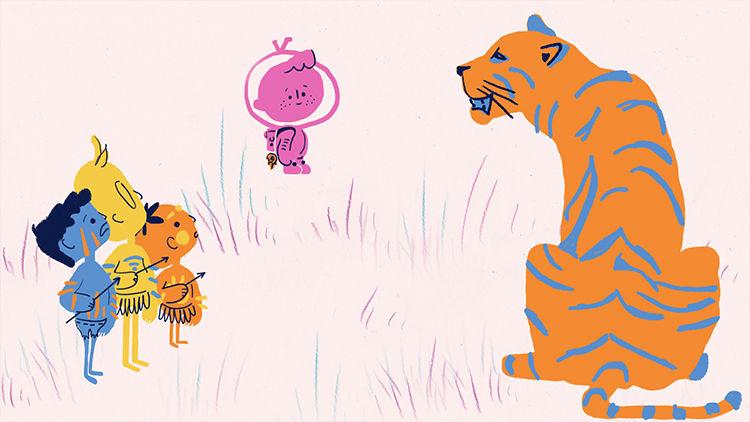 Фрагмент анимации «Дети джунглей». Анна Бондаренко, Анастасия Никитина, Виктория Телкова.