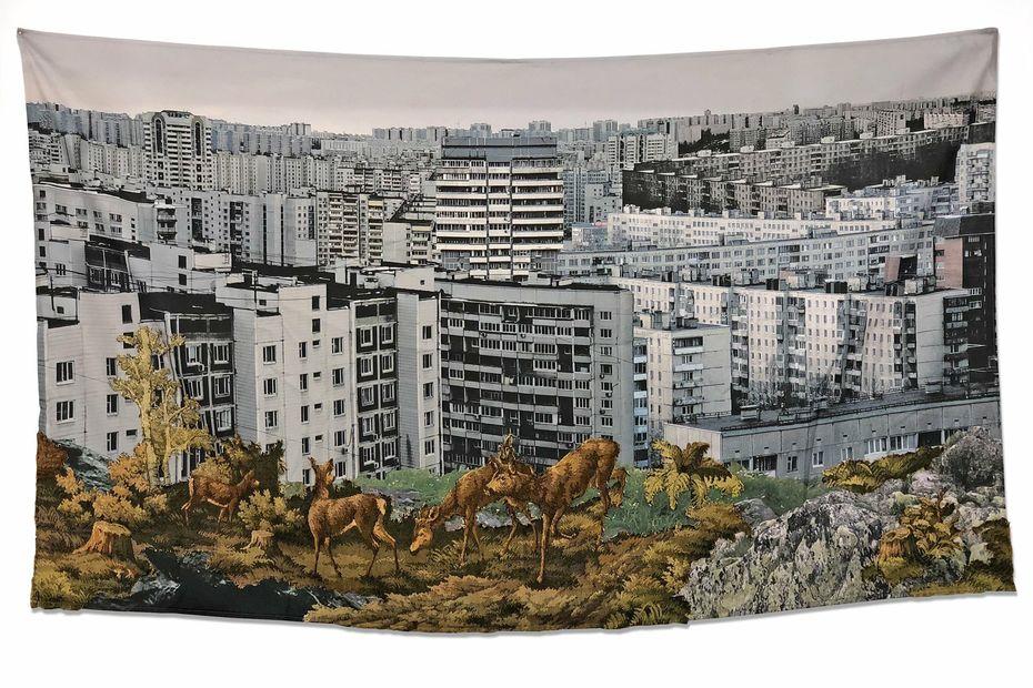 Катя Мордвинкина «Дополненная реальность», 2019 коллаж наткани, фрагмент