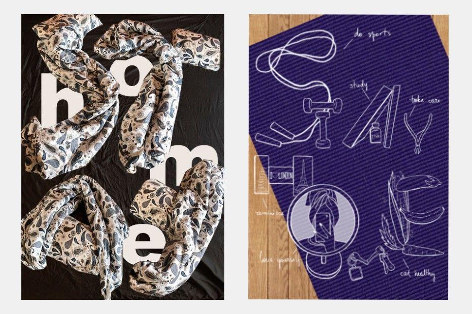 Плакаты студентов Школы дизайна из подручных материалов