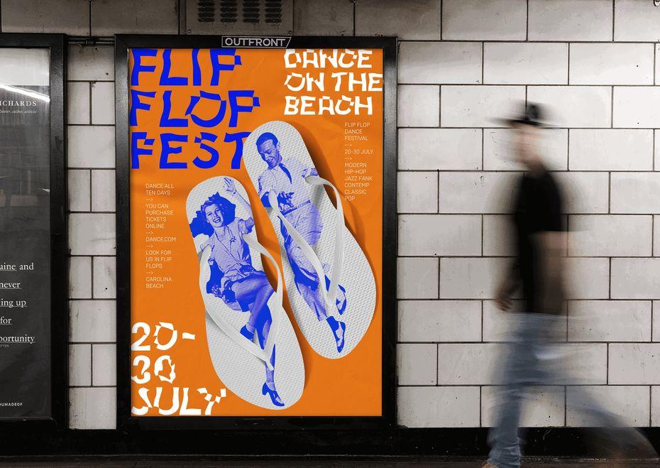 Евгения Кудринсткая. Айдентика для фестиваля танцев напляже Flip Flop Fest.