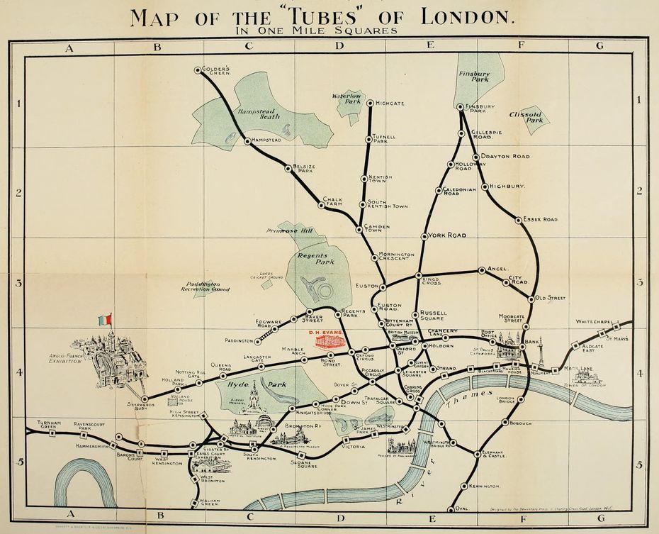 Карта 1908 года избуклета «Краткий путеводитель поЛондону». Изображение: сайт https://www.ltmuseum.co.uk/