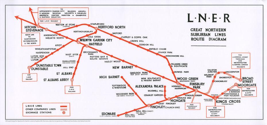 Карта Джорджа Доу 1929 года изображает схему линий Северо-Восточной Железной дороги. Изображение: сайт https://themapspro.blogspot.com/