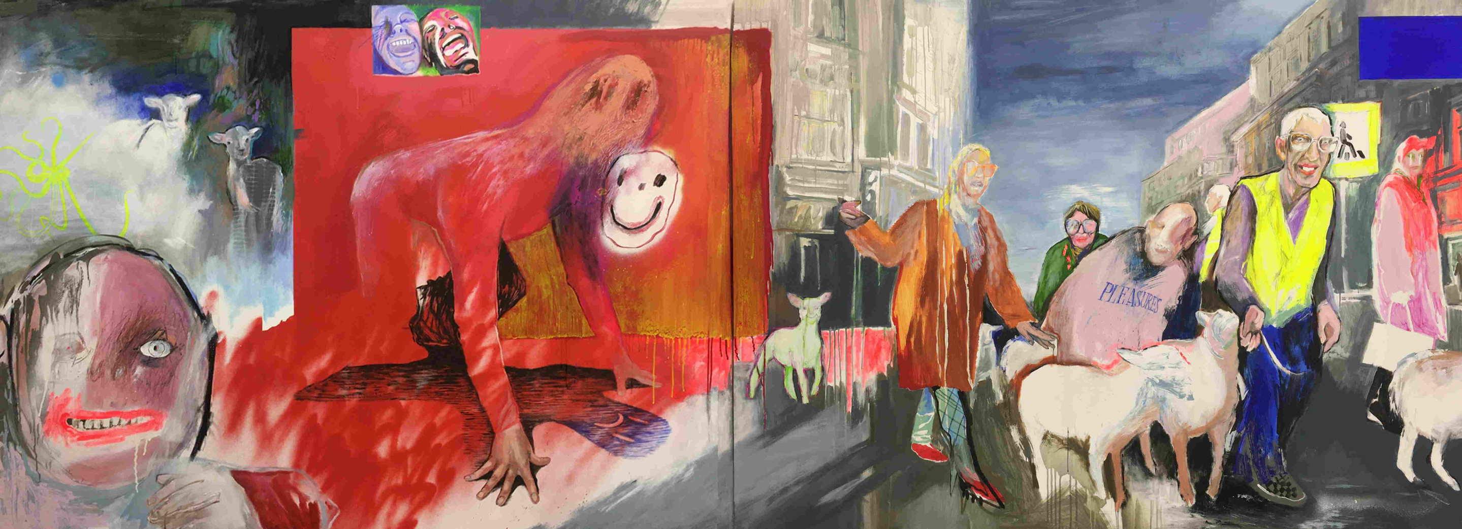 Женя Милюкос, «Агнец», 2020, Холст, акрил, масло, баллон, уголь, 150×400см