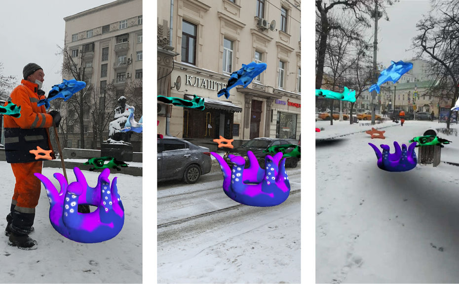Александра Тен. Маска Snapchat изпроекта «Антиутопия», примененная вМоскве.2020