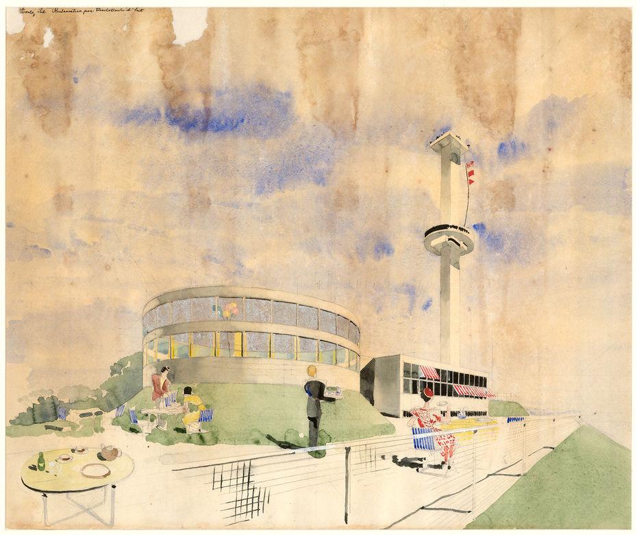 Проект ресторана вШарлоттенлунде.1933год. Акварель изколлекции архитектурного архива библиотеки национального искусства Дании