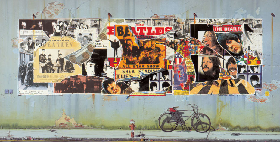 Клаус Форманн иАльфонс Кифер. Работа для The Beatles Anthology (1995). Чуть ниже правого верхнего угла афиши— фрагмент обложки Revolver. Фото: сайт https://en.wikipedia.org/